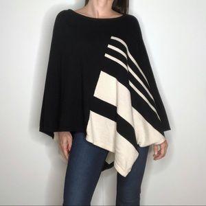 AUGUST SILK Graphic Black + Cream Knit Poncho Cape